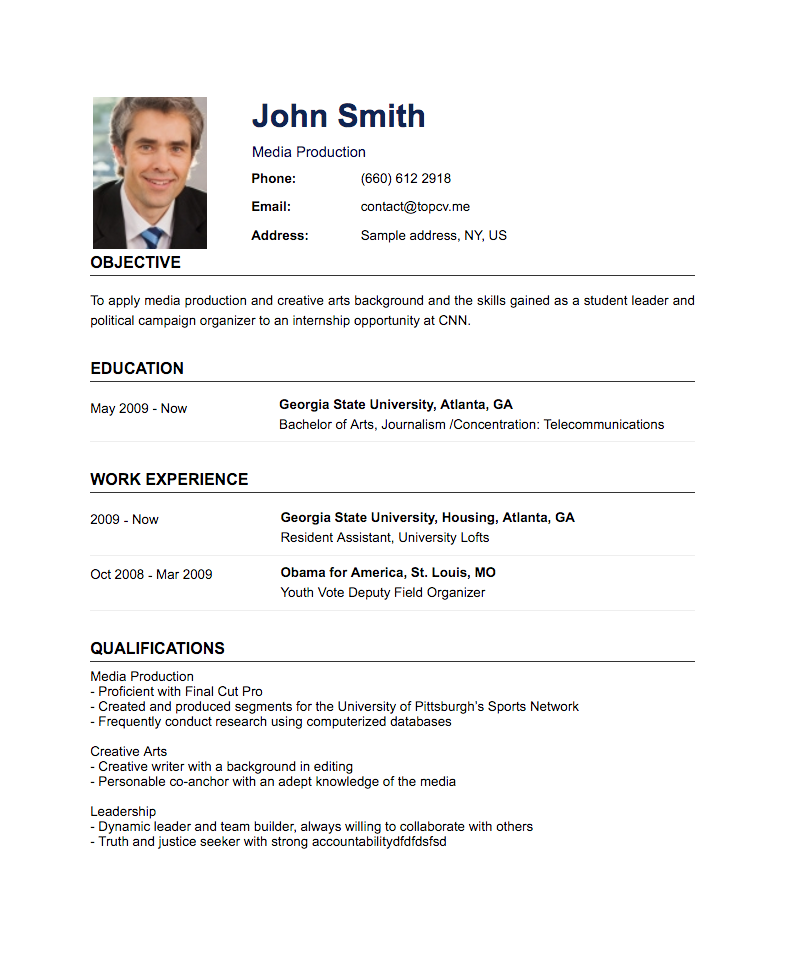 create resume standard cv template