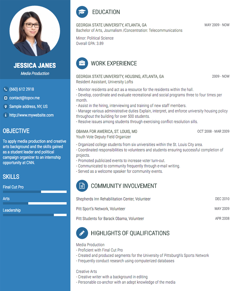 Professional Cv Resume Builder Online With Many Templates Goodcv Com