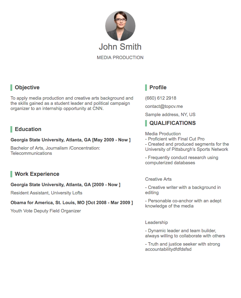 cv for student - Professional Cv
