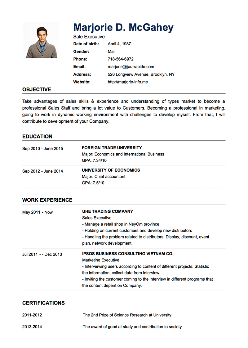 Professional Resumecv Templates With Examples Topcv