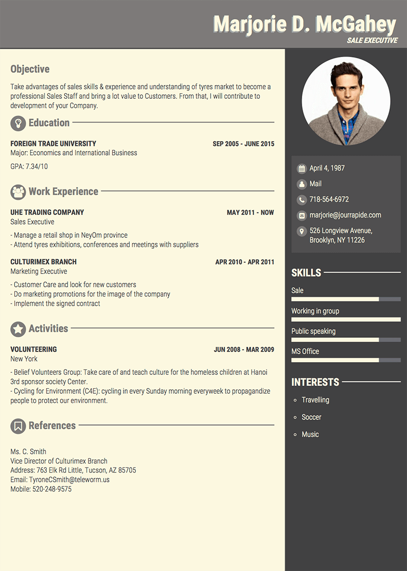 Professional Cv Template | Professional Resume Cv Templates With Examples Topcv Me