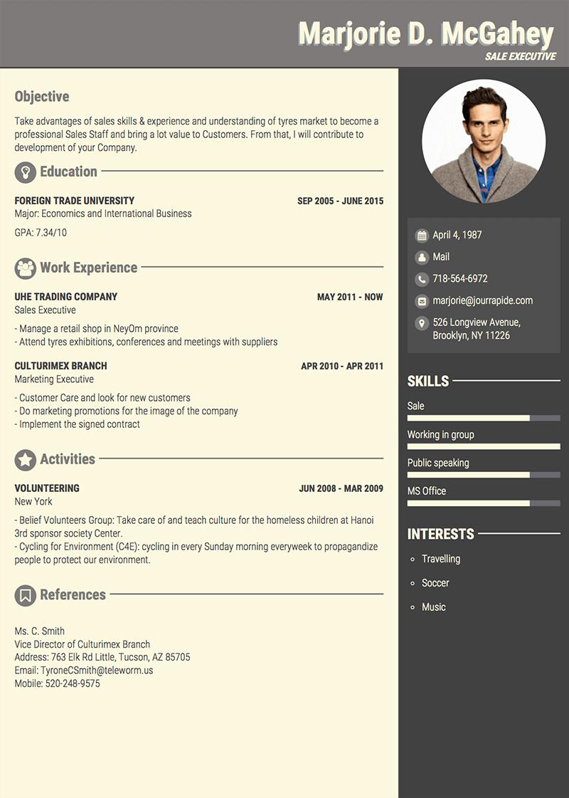 Sample CV President