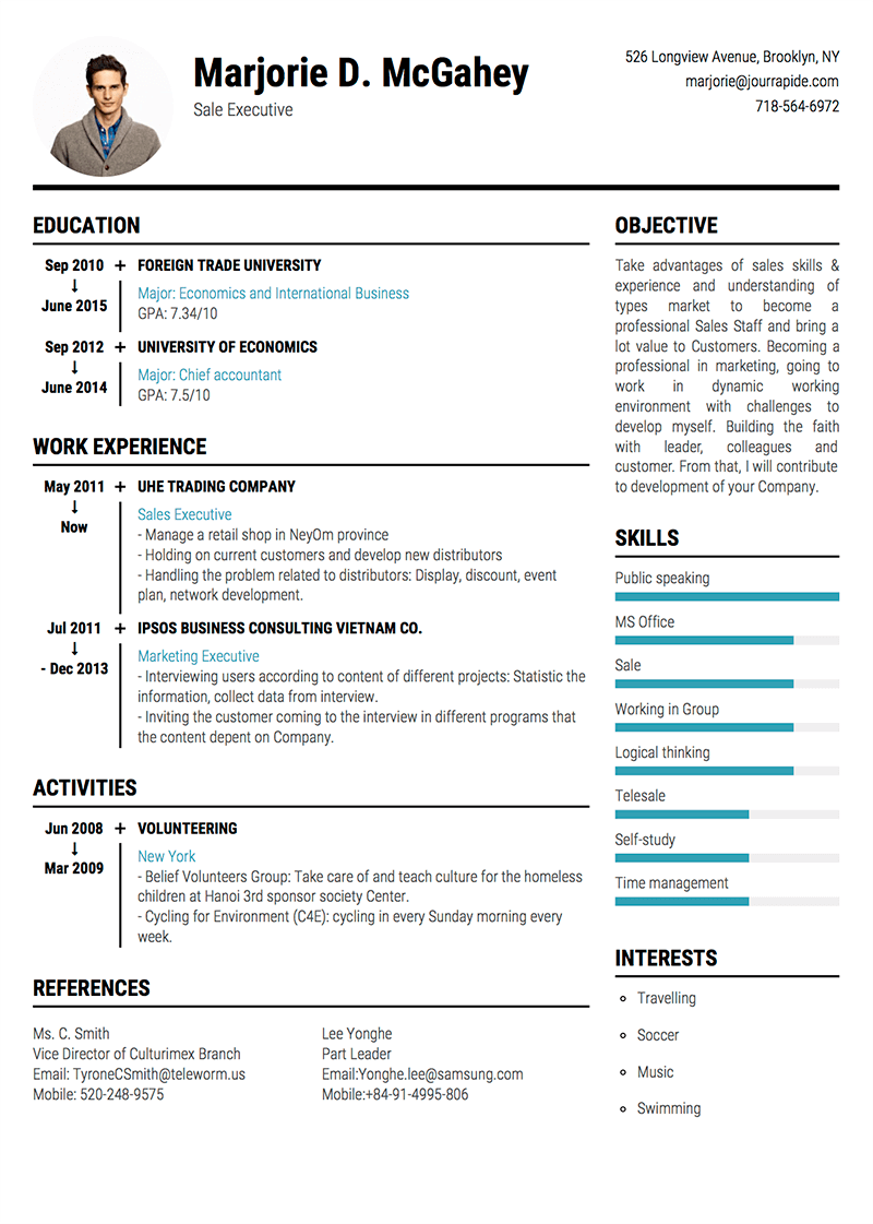 sample cv professional