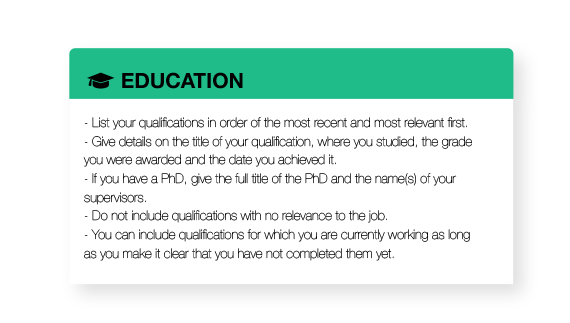 detailed suggestions to write a good cv